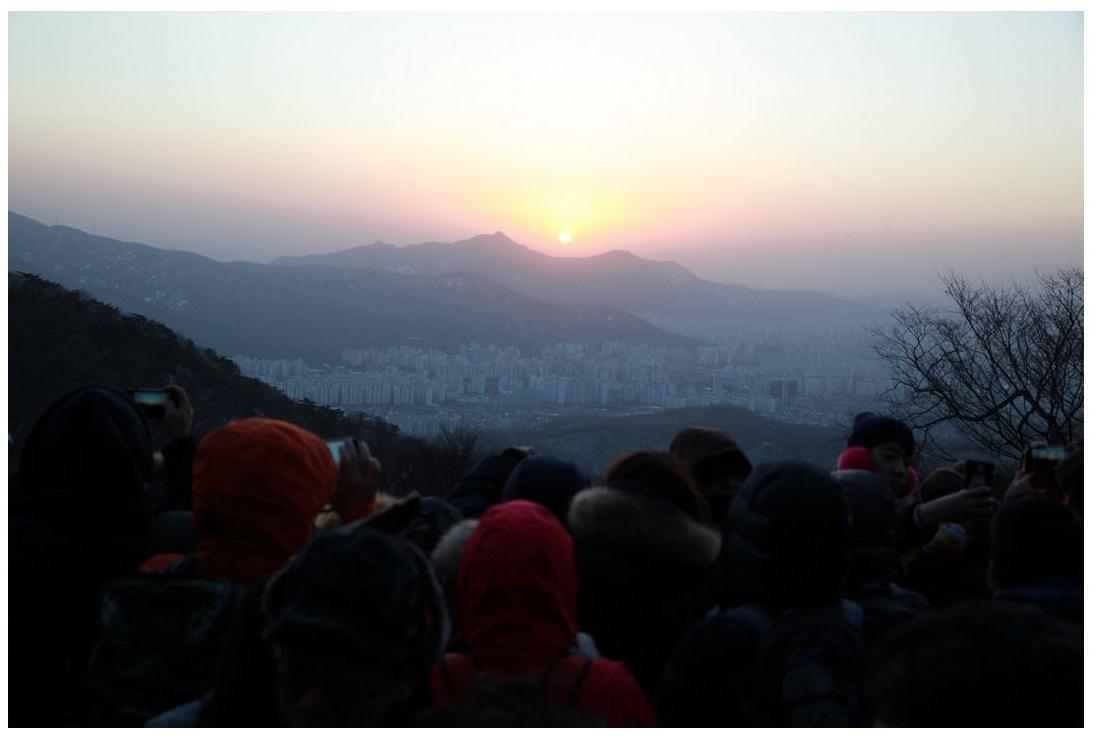 새해 첫날 도봉산 천축사에서 해맞이 행사